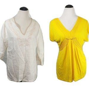 2 Tops Sherry Taylor tan & Cable & Gauge yellow
